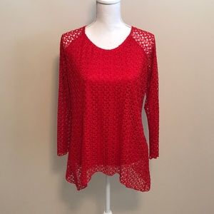 Tops - City-View Red Long Sleeve Blouse- M